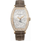 Fake Patek Philippe Gondolo Mechanical Gold and Diamond Dial Ladies Watch 7099R-001