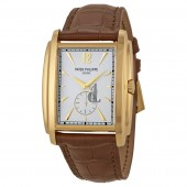 Fake Patek Philippe Gondolo Silver Dial Yellow Gold Leather Men's Watch 5124J-001