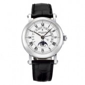 Fake Patek Philippe Perpetual Calendar Silver Dial 18kt White Gold Black Leather Men's Watch 5059G