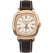 Fake Patek Philippe Silver Dial 18kt Rose Gold Diamond Brown Leather Ladies Watch 7041R