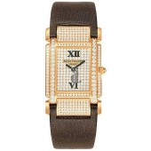 Fake Patek Philippe Twenty-4  18kt Rose Gold Diamond Dial Satin Strap Ladies Watch 4910R