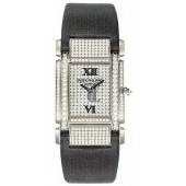 Fake Patek Philippe Twenty-4 18kt White Gold Diamond Dial Satin Strap Ladies Watch 4910G
