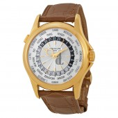 Fake Patek Philippe World Time Silver Dial 18kt Yellow Gold Brown Leather Men's Watch 5130J