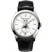 Fake Patek Philippe Complications Silvery Opaline Dial White Gold Case Men's Annual Calender Watch 5396G
