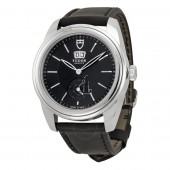 Tudor Glamour Mechanical Black Dial Black Leather Watch 57000-BKBKL Replica