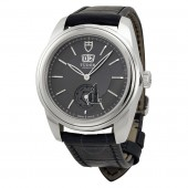 Tudor Glamour Mechanical Grey Dial Black Leather Watch 57000-GYBKL Replica