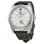 Tudor Glamour Mechanical Silver Dial Black Leather Watch 57000-SVBKL Replica