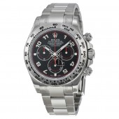 imitation Rolex Daytona RLX116509BKAO Black Arabic Dial Oyster Bracelet 18k White Gold Watch