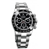 imitation Rolex Cosmograph Daytona 116500BKSO Black Dial Stainless Steel Oyster Watch