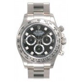imitation Rolex Daytona 116509BKDO Black Diamond Oyster Bracelet 18k White Gold Watch